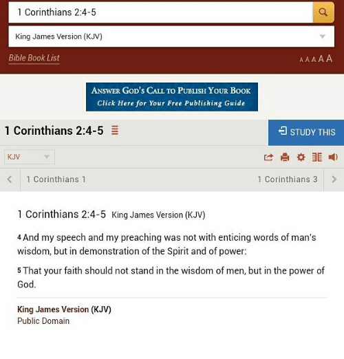 1 Corinthians 24-5 King James Version KJV Bible Book List ANSWER