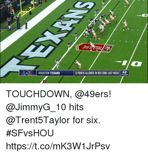 San Francisco 49ers, Memes, and Houston Texans: 1 HOUSTON TEXANS  O POINTS ALLOWED IN RED ZDNE LAST WEEKEDE  HYUNDAI TOUCHDOWN, @49ers!  @JimmyG_10 hits @Trent5Taylor for six. #SFvsHOU https://t.co/mK3W1JrPsv