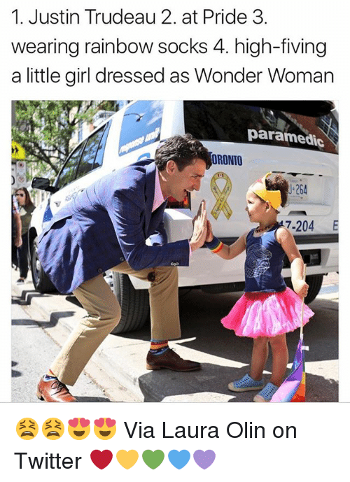 Memes, Twitter, and Girl: 1. Justin Trudeau 2. at Pride 3.  wearing rainbow socks 4. high-fiving  a little girl dressed as Wonder Woman  paramedic  ORONTO  J-264  7-204 E 😫😫😍😍 Via Laura Olin on Twitter ❤️💛💚💙💜