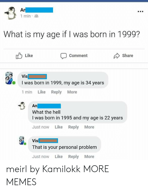 Dank, Memes, and Target: 1 min  What is my age if I was born in 1999?  Like  Comment  Share  I was born in 1999, my age is 34 years  1 min Like Reply More  An  What the hell  I was born in 1995 and my age is 22 years  Just now Like Reply More  Vis  That is your personal problem  Just now Like Reply More meirl by Kamilokk MORE MEMES