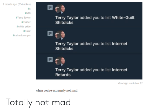 Internet, Tumblr, and Twitter: 1 month ago (234 notes)  #c  #516  Terry Taylor added you to list White-Guilt  Shitdicks  #Terry Taylor  #Twitter  #white pride  #rslur  #calm down pls  Terry Taylor added you to list Internet  Shitdicks  Terry Taylor added you to list Internet  Retards  View high resolution  when you're extremely not mad Totally not mad