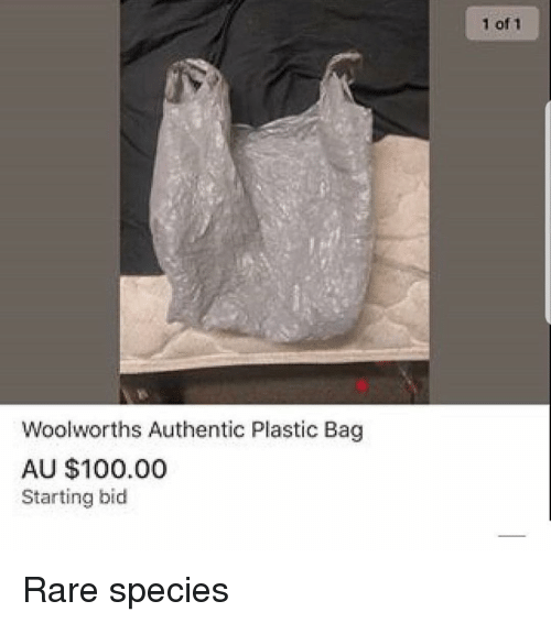 Anaconda, Memes, and 🤖: 1 of 1  Woolworths Authentic Plastic Bag  AU $100.00  Starting bid Rare species