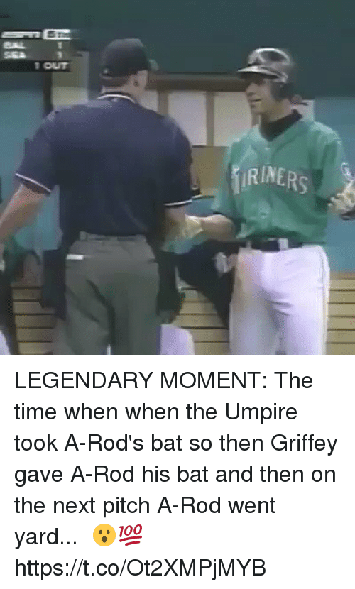 Memes, Time, and 🤖: 1 OUT  RINERS LEGENDARY MOMENT: The time when when the Umpire took A-Rod's bat so then Griffey gave A-Rod his bat and then on the next pitch A-Rod went yard...😮💯 https://t.co/Ot2XMPjMYB