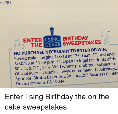 1-Pb1 ISING ENTER THE BIRTHDAY SWEEPSTAKES NO PURCHASE