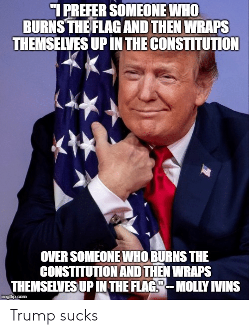 Memes, Constitution, and Trump: 1 PREFER SOMEONE WHO  BURNS THE FLAGAND THEN WRAPS  THEMSELVES UP IN THE CONSTITUTION  OVER SOMEONE WHO BURNS THE  CONSTITUTIONAND THEN WRAPS  THEMSEILVESUP IN THE FLAG-MOLY IVINS Trump sucks