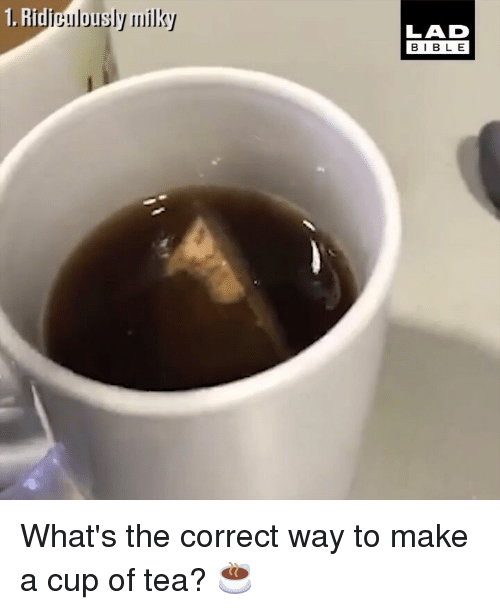Memes, 🤖, and Make A: 1. Ridipulous  LAD  BIBL E What's the correct way to make a cup of tea? ☕️