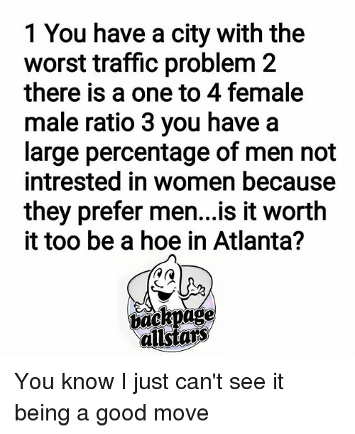 men to women ratio in atlanta