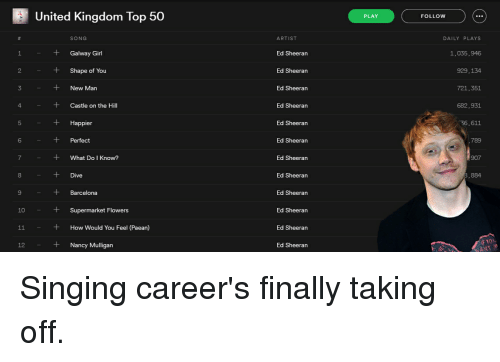 10 11 united kingdom top 50 song galway girl shape 15859880 search castle on the hill memes on me me,Top 10 Song Memes