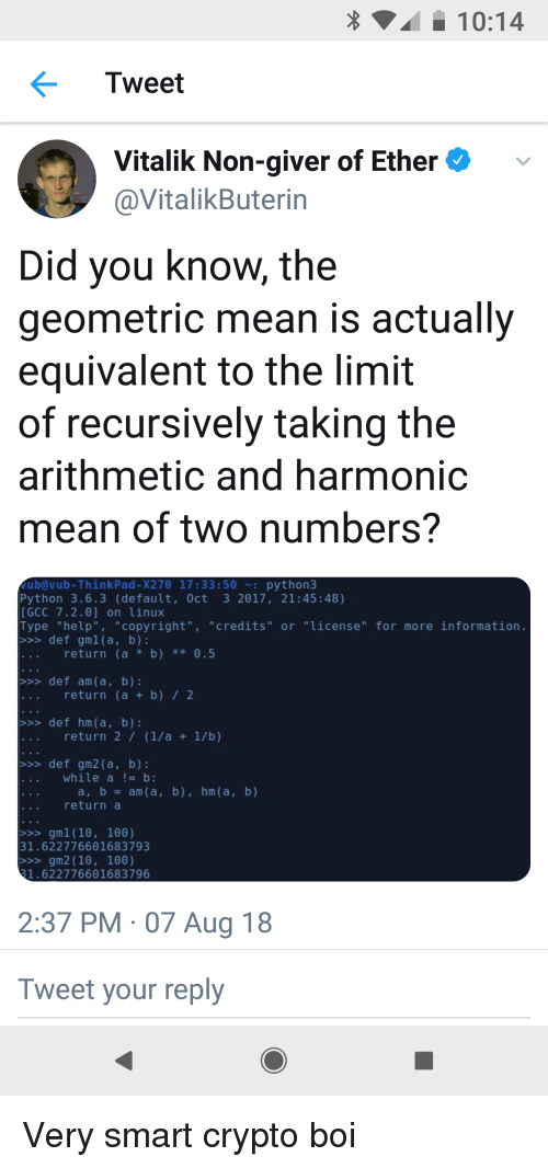 1014 Tweet Vitalik Non-Giver of Etherv Did You Know the Geometric