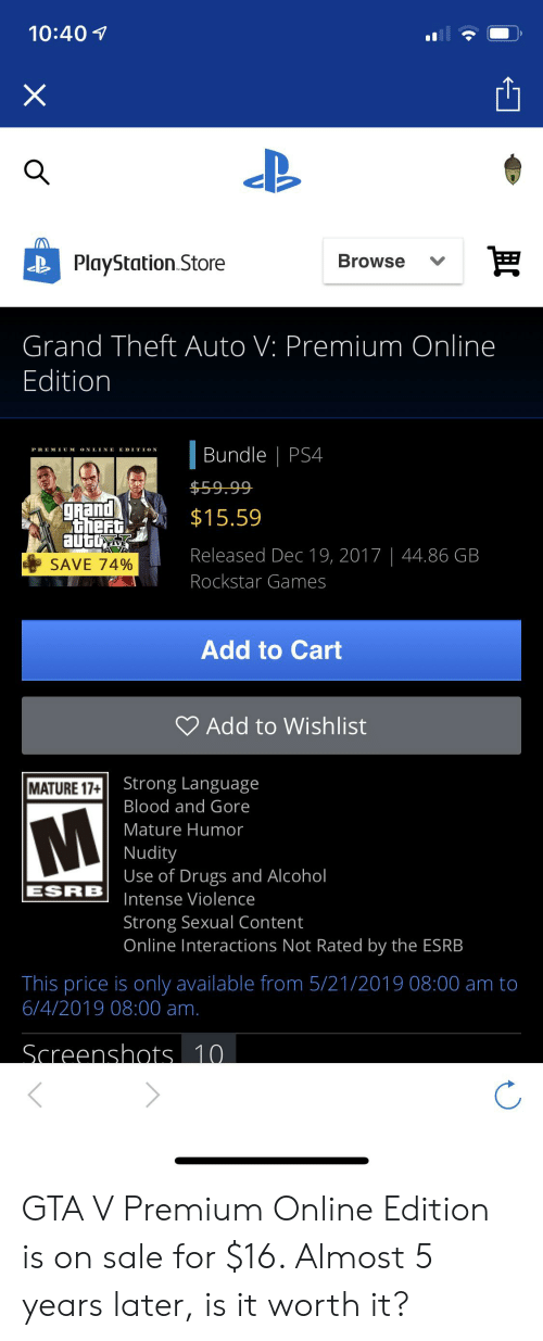 1040 X Browse PlayStation Store Grand Theft Auto v Premium