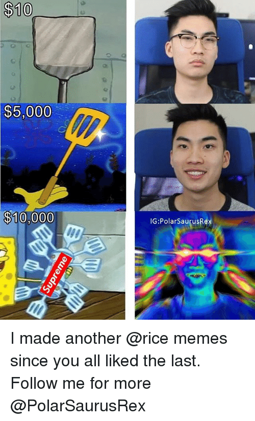 Memes, 🤖, and Another: $10  $5,000  $10,000  IG:PolarSaurusR  ex  e) I made another @rice memes since you all liked the last. Follow me for more @PolarSaurusRex