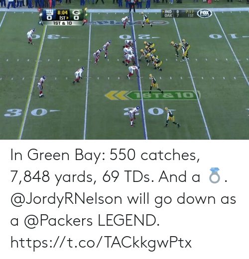 Memes, Packers, and 🤖: 10  8:04 G  IND0 7:17  OAK 7 s  ST  ST & 10 In Green Bay: 550 catches, 7,848 yards, 69 TDs. And a 💍.  @JordyRNelson will go down as a @Packers LEGEND. https://t.co/TACkkgwPtx