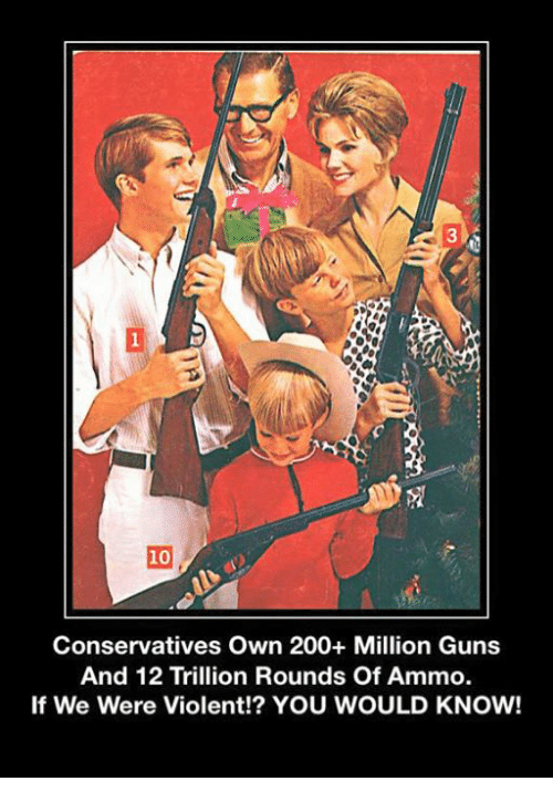 10 Conservatives Own 200 Million Guns And 12 Trillion Rounds Of