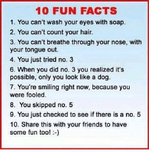 Memes, 🤖, and Soap: 10 FUN FACTS  1. You can't wash your eyes with soap,  2. You can't count your hair.  3. You can't breathe through your nose, with  your tongue out.  4. You just tried no. 3  6. When you did no. 3 you realized it's  possible, only you look like a dog.  7. You're smiling right now, because you  were fooled.  8. You skipped no. 5  9. You just checked to see if there is a no. 5  10. Share this with your friends to have  some fun too!