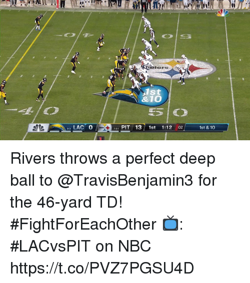 Memes, 🤖, and Nbc: &10  LAC O  731 PIT 13 1st 1:12 :02  1st & 10  8-3 Rivers throws a perfect deep ball to @TravisBenjamin3 for the 46-yard TD! #FightForEachOther  📺: #LACvsPIT on NBC https://t.co/PVZ7PGSU4D