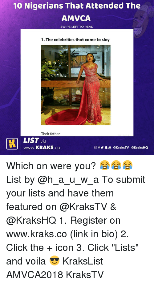 """Click, Memes, and Link: 10 Nigerians That Attended The  AMVCA  SWIPE LEFT TO READ  1. The celebrities that came to slay  Their father  LIST via  Www.KRAKS.co  回f y奉喦@kraksTV 