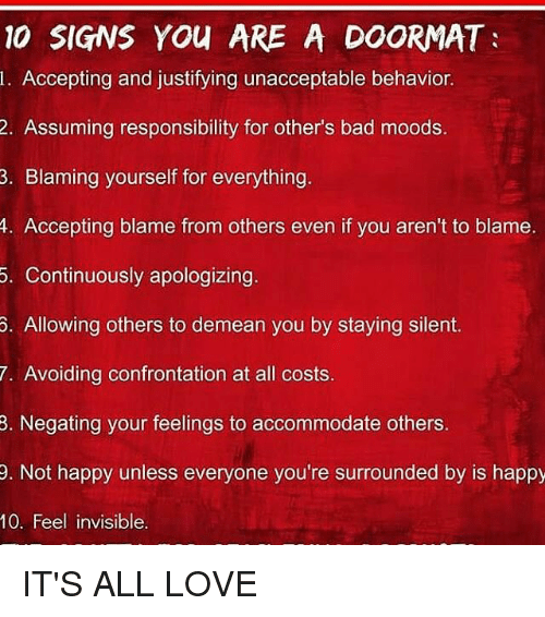 Signs you are a doormat