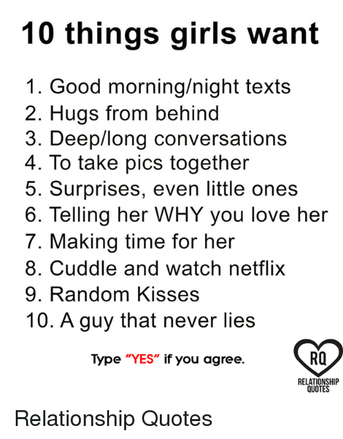 10 Things Girls Want 1 Good Morningnight Texts 2 Hugs From Behind