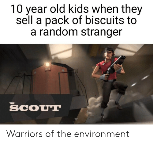 Kids, Warriors, and Dank Memes: 10 year old kids when they  sell a pack of biscuits to  a random stranger  THE  SCOUT Warriors of the environment