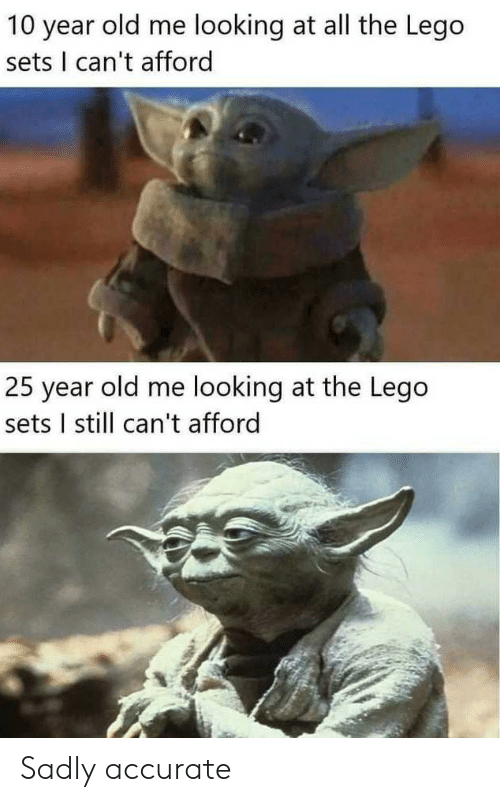 Lego, Reddit, and Old: 10 year old me looking at all the Lego  sets I can't afford  25 year old me looking at the Lego  sets I still can't afford Sadly accurate