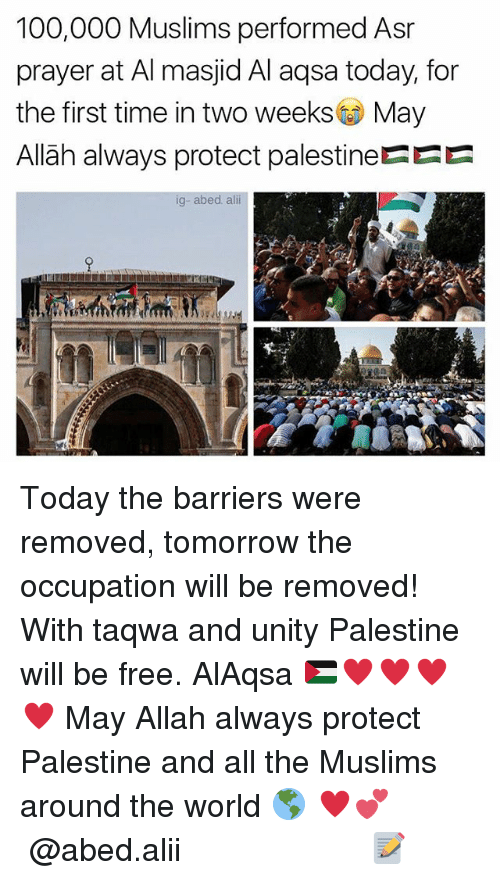 Ali, Anaconda, and Memes: 100,000 Muslims performed Asr  prayer at Al masjid Al aqsa today, for  the first time in two weeks May  Allãh always protect palestineEEE  ig-abed. ali Today the barriers were removed, tomorrow the occupation will be removed! With taqwa and unity Palestine will be free. AlAqsa 🇵🇸♥️♥️♥️♥️ May Allah always protect Palestine and all the Muslims around the world 🌎 ♥️💕 ▃▃▃▃▃▃▃▃▃▃▃▃▃▃▃▃▃▃▃▃ @abed.alii 📝