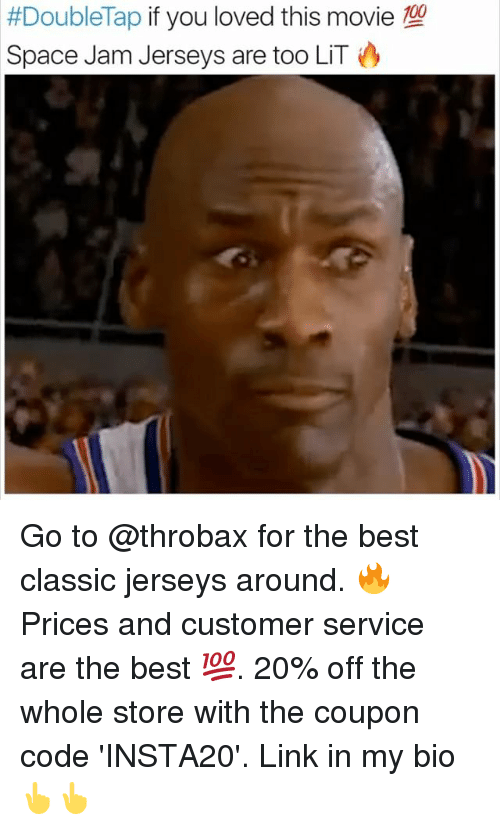 Anaconda, Lit, and Memes: 100  #Doublelap if you loved this movie  Space Jam Jerseys are too LIT Go to @throbax for the best classic jerseys around. 🔥Prices and customer service are the best 💯. 20% off the whole store with the coupon code 'INSTA20'. Link in my bio 👆👆