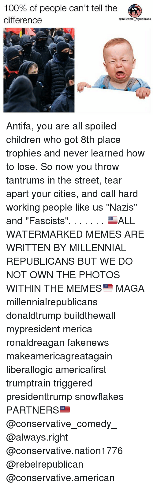 """Anaconda, Children, and Memes: 100% of people can't tell the  difference  @millennial republicans Antifa, you are all spoiled children who got 8th place trophies and never learned how to lose. So now you throw tantrums in the street, tear apart your cities, and call hard working people like us """"Nazis"""" and """"Fascists"""". . . . . . . 🇺🇸ALL WATERMARKED MEMES ARE WRITTEN BY MILLENNIAL REPUBLICANS BUT WE DO NOT OWN THE PHOTOS WITHIN THE MEMES🇺🇸 MAGA millennialrepublicans donaldtrump buildthewall mypresident merica ronaldreagan fakenews makeamericagreatagain liberallogic americafirst trumptrain triggered presidenttrump snowflakes PARTNERS🇺🇸 @conservative_comedy_ @always.right @conservative.nation1776 @rebelrepublican @conservative.american"""