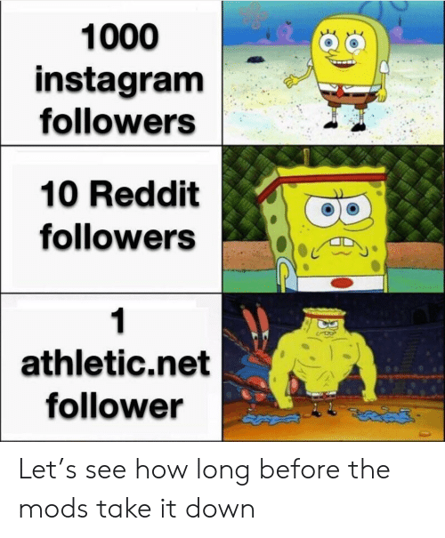 Instagram, Reddit, and How: 1000  instagram  followers  10 Reddit  followers  1  athletic.net  follower Let's see how long before the mods take it down