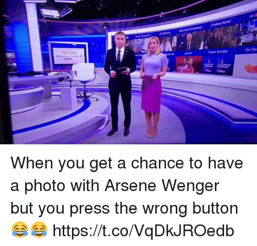Soccer, Sunday, and Arsene Wenger: 1001 pm  Supar Sunday  On De When you get a chance to have a photo with Arsene Wenger but you press the wrong button 😂😂 https://t.co/VqDkJROedb