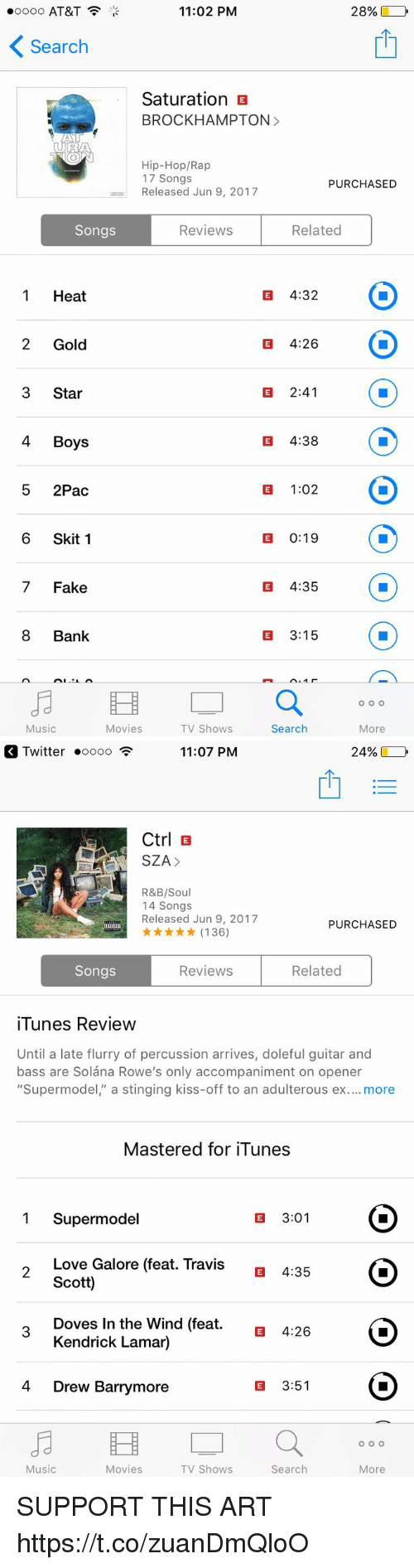 """Fake, Funny, and Kendrick Lamar: 11:02 PM  oooo AT&T  Search  Saturation E  BROCK HAMPTON  MANT  UR/A  Hip-Hop/Rap  17 Songs  PURCHASED  Released Jun 9, 2017  Related  Songs  Reviews  E 4:32  Heat  E 4:26  Gold  2:41  Star  4 Boys  E 4:38  E 1:02  2Pac  6 Skit 1  E 0:19  E 4:35  Fake  3:15  Bank  O O O  More  Music  Movies  TV Shows  Search   249%  Twitter .oooo  11:07 PM  Ctrl E  SZA  R&B/Soul  14 Songs  Released Jun 9, 2017  PURCHASED  (136)  Related  Songs  Reviews  iTunes Review  Until a late flurry of percussion arrives, doleful guitar and  bass are Solana Rowe's only accompaniment on opener  """"Supermodel,"""" a stinging kiss-off to an adulterous ex  more  Mastered for iTunes  3:01  1 Supermode  Love Galore (feat. Travis  E 4:35  O  Scott)  Doves In the Wind (feat.  E 4:26  Kendrick Lamar)  E 3:51  4 Drew Barrymore  O O O  Music  Search  Movies  TV Shows  More SUPPORT THIS ART https://t.co/zuanDmQloO"""