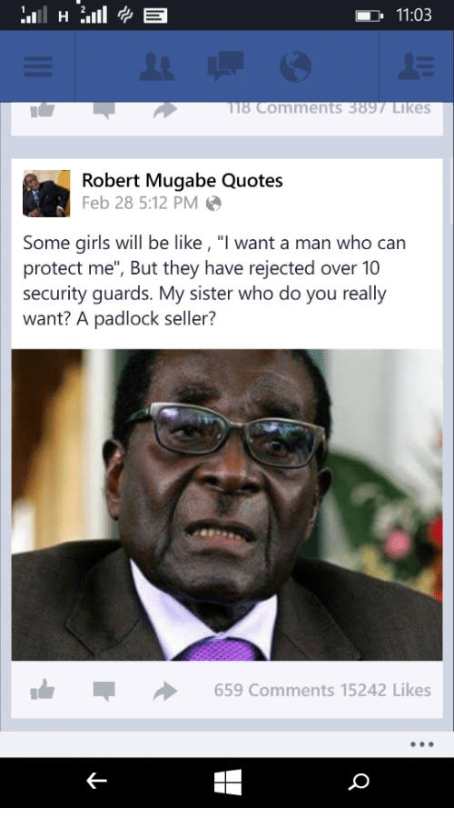 1103 18 Comments 389 Likes Robert Mugabe Quotes Feb 28 512 ...