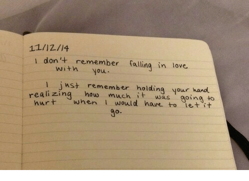 Love, Let It Go, and Witn: 11/12/14  1 don'+ remember fallinq in love.  witn you  l inst remember holding your hand  reali zing how much it was going to  urt when I would hare to let 'it  go.