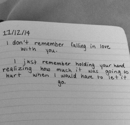 Love, How, and Remember: 11/12/14  1 don't remember falling in love  with  moh  nst remember holding your hand  realizing how much it was goina to  when would have to let it  hurt  go.