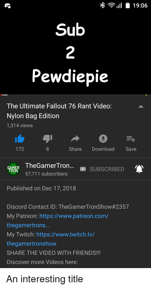 11 1906 2 Pewdiepie the Ultimate Fallout 76 Rant Video Nylon Bag