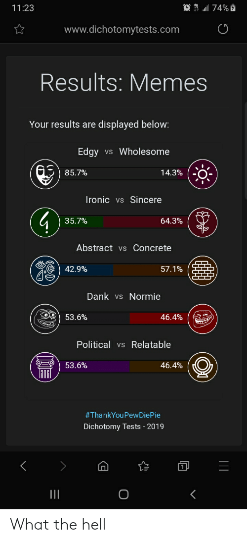 Dank, Memes, and Edgy: 11:23  www.dichotomytests.com  Results: Memes  Your results are displayed below:  Edgy vs Wholesome  85.7%  14.3%  Ironicvs Sincere  35.7%  64.3%  Abstract vs Concrete  ) 42.9%  57.1%  Dank vs Normie  53.6%  Political vsRelatable  ) 53.6%  46.4%  (0  #ThankYou PewDiePie  Dichotomy Tests 2019 What the hell