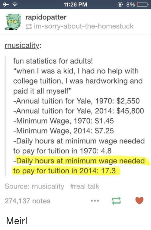"""College, Sorry, and Help: 11:26 PM  8%  rapidopatter  im-sorry-about-the-homestuck  rnusicality  fun statistics for adults!  """"when l was a kid, I had no help with  college tuition, I was hardworking and  paid it all myself""""  -Annual tuition for Yale, 1970: $2,550  Annual tuition for Yale, 2014: $45,800  Minimum Wage, 1970: $1.45  Minimum Wage, 2014: $7.25  Daily hours at minimum wage needed  to pay for tuition in 1970: 4.8  Daily hours at minimum wage needed  to pay for tuition in 2014: 17.3  Source: rnusicality #real talk  274,137 notes Meirl"""