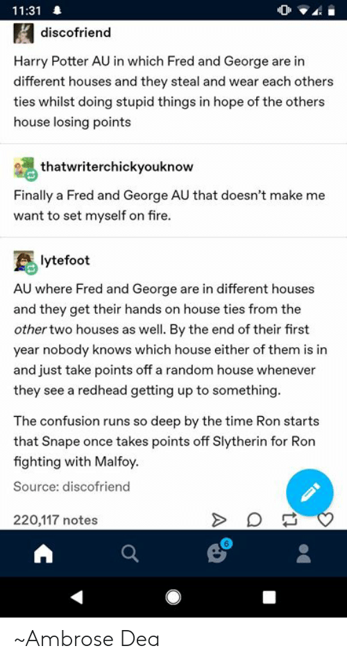 1131 Discofriend Harry Potter AU in Which Fred and George