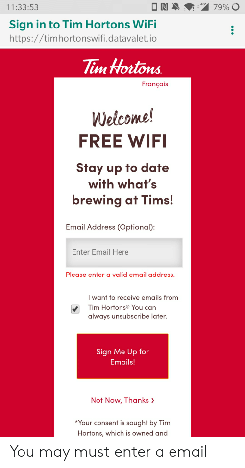 113353 Sign in to Tim Hortons WiFi