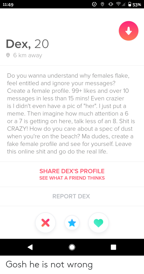 "Crazy, Fake, and Life: 11:49  53%  Dex, 20  O 6 km away  Do you wanna understand why females flake,  feel entitled and ignore your messages?  Create a female profile. 99+ likes and over 10  messages in less than 15 mins! Even crazier  is I didn't even have a pic of ""her"". I just put a  meme. Then imagine how much attention a 6  or a 7 is getting on here, talk less of an 8. Shit is  CRAZY! How do you care about a spec of dust  when you're on the beach? Ma dudes, create a  fake female profile and see for yourself. Leave  this online shit and go do the real life.  SHARE DEX'S PROFILE  SEE WHAT A FRIEND THINKS  REPORT DEX Gosh he is not wrong"