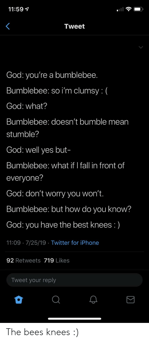 Fall, God, and Iphone: 11:59  Tweet  God: you're a bumblebee.  Bumblebee: so i'm clumsy: (  God: what?  Bumblebee: doesn't bumble mean  stumble?  God: well yes but-  Bumblebee: what if I fall in front of  everyone?  God: don't worry you won't.  Bumblebee: but how do you know?  God: you have the best knees :)  11:09 7/25/19 Twitter for iPhone  92 Retweets 719 Likes  Tweet your reply The bees knees :)