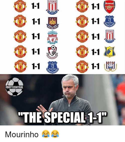 "Arsenal, Everton, and Memes: 11  Arsenal  1-1  1-1  1-1  1-1  1-1  1-1  Everton  FOOTY CENTRAL  ""THE SPECIAL 1-1 Mourinho 😂😂"