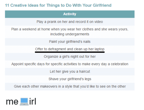 Things to do to your girlfriend