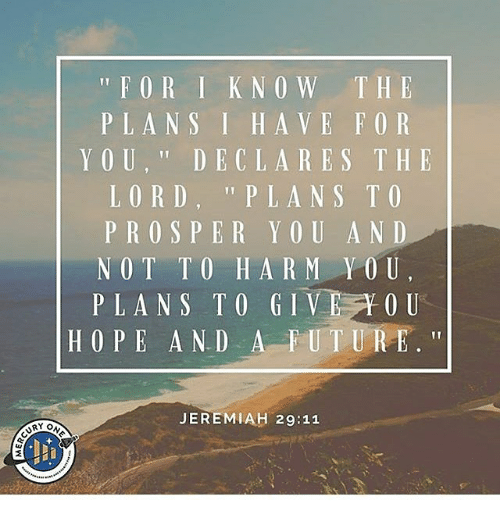 11 For I Know The Plans I Have For You Declares The Lord Plans To