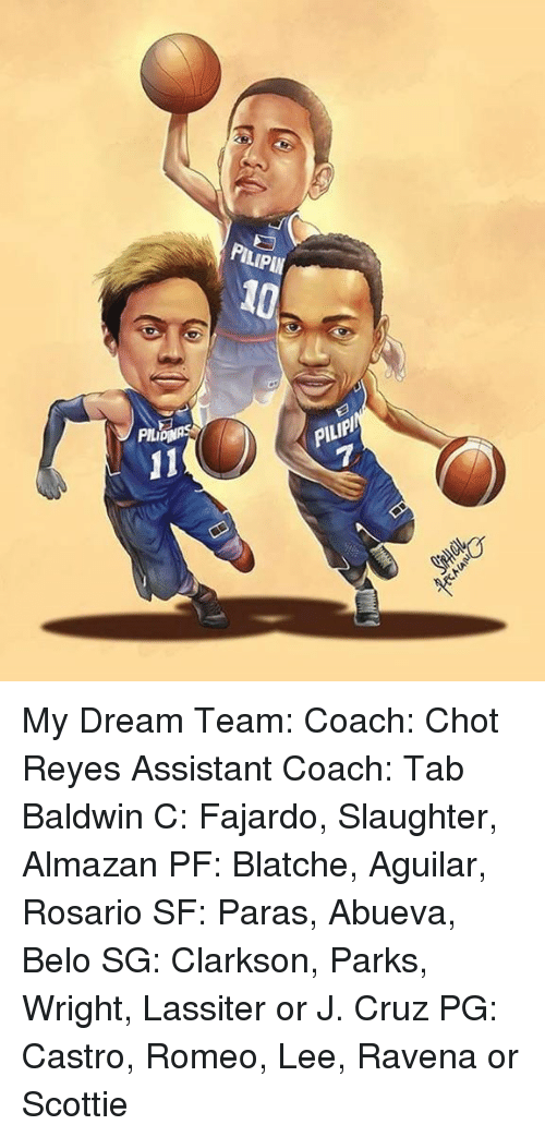 Rey, Filipino (Language), and Pba: 11  PILPIN  PILIPIl My Dream Team: Coach: Chot Reyes Assistant Coach: Tab Baldwin  C: Fajardo, Slaughter, Almazan PF: Blatche, Aguilar, Rosario SF: Paras, Abueva, Belo  SG: Clarkson, Parks, Wright, Lassiter or J. Cruz PG: Castro, Romeo, Lee, Ravena or Scottie