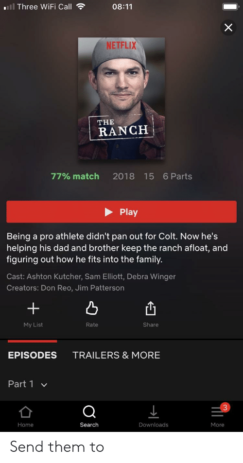Dad, Family, and Netflix: 111 Three WiFi Call  08:11  NETFLIX  THE  RANCH  77% match 2018 15 6Parts  Play  Being a pro athlete didn't pan out for Colt. Now he's  helping his dad and brother keep the ranch afloat, and  figuring out how he fits into the family.  Cast: Ashton Kutcher, Sam Elliott, Debra Winger  Creators: Don Reo, Jim Patterson  +  凸  凸  My List  Rate  Share  EPISODES  TRAILERS & MORE  Part 1  3  Home  Search  Downloads  More Send them to