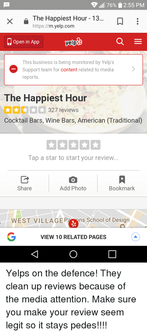 1111 76% 255 PM the Happiest Hour - 13 Httpsmyelpcom Open in