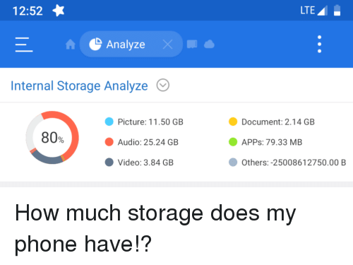 1252 Lte Analyze Internal Storage Analyze Document 214 Gb