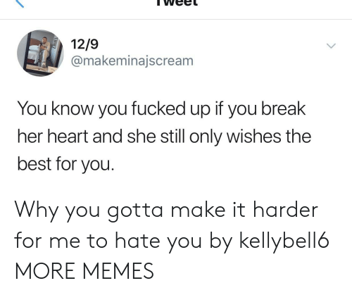 Dank, Memes, and Target: 12/9  @makeminajscream  You know you fucked up if you break  her heart and she still only wishes the  best for you. Why you gotta make it harder for me to hate you by kellybell6 MORE MEMES