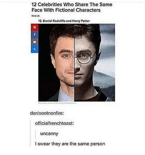Fictional, Celebrities, and Potter: 12 Celebrities Who Share The Same  Face With Fictional Characters  2. Dan el Radcliffe and Horry Potter  danisontnonfire:  officialfrenchtoast:  uncanny  I swear they are the same person