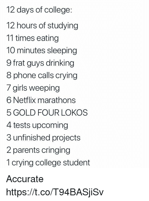 College, Crying, and Drinking: 12 days of college  12 hours of studying  11 times eating  10 minutes sleeping  9 frat guys drinking  8 phone calls crying  / girils weeping  6 Netflix marathons  5 GOLD FOUR LOKOS  4 tests upcoming  3 unfinished projects  2 parents cringing  1 crying college student Accurate https://t.co/T94BASjiSv